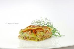 lasagne al salmone con verdire croccanti