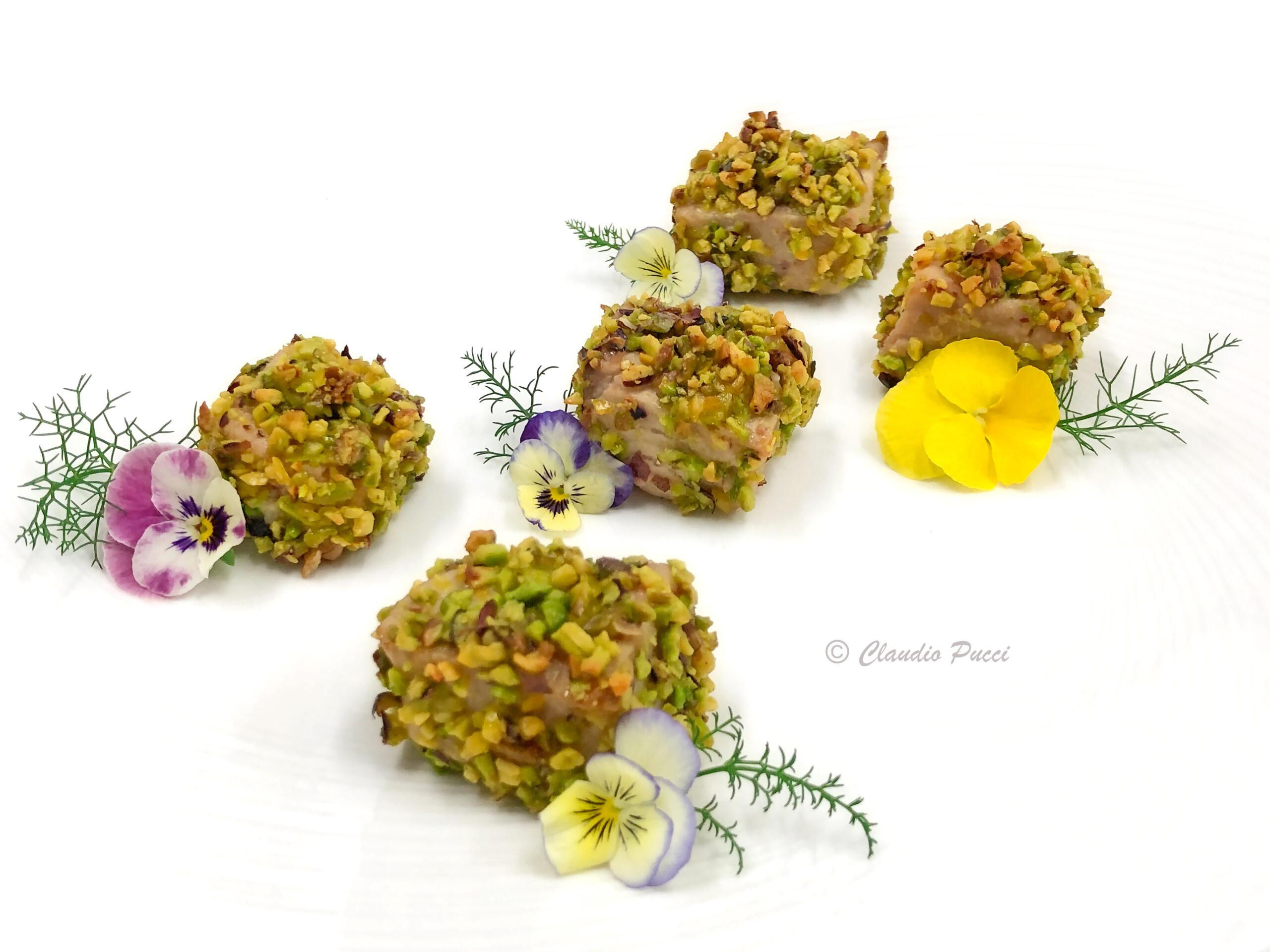 Bocconcini di pesce spada in crosta di pistacchio